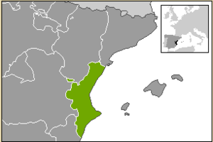 Kingdom of Valencia - Modern boundaries within Spain of the Valencian Community