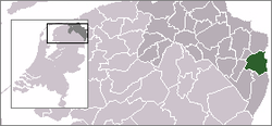 Highlighted position of Bellingwedde in a municipal map of Groningen