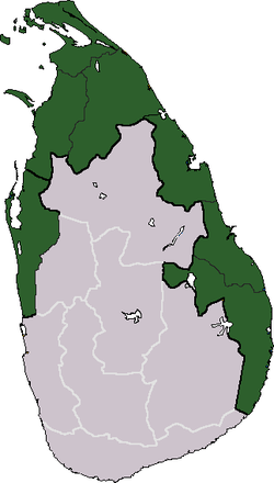 Area claimed as Tamil Eelam