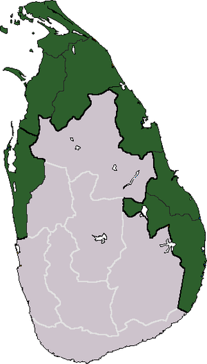 Sri Lankan Civil War - The area of Sri Lanka claimed by the LTTE as Tamil Eelam, where the vast majority of the fighting took place