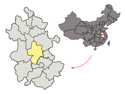 Location of Hefei City jurisdiction in Anhui