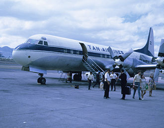 Augusto C. Sandino International Airport - Lockheed L-188 Electra of TAN Airlines (Transportes Aéreos Nacionales S.A.) operating at Las Mercedes Airport, Managua, Nicaragua in 1970s