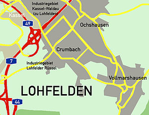 Lohfelden - Location of the communal divisions