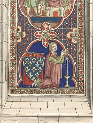 Louis of France (1244–1260) - Prince Louis in prayer; drawing of 13th-century stained glass window in Chartres Cathedral
