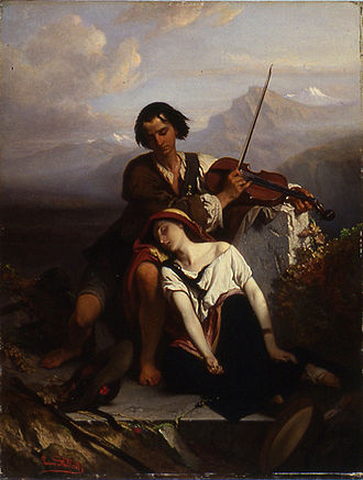 "Music therapy - Power of Music by Louis Gallait. A brother and sister resting before an old tomb. The brother is attempting to comfort his sibling by playing the violin, and she has fallen into a deep sleep, ""oblivious of all grief, mental and physical""."