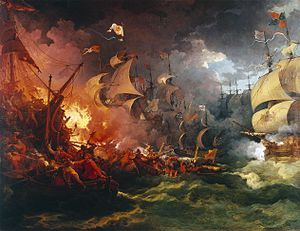 Maritime history of Europe - Defeat of the Spanish Armada, 1588-08-08 by Philippe-Jacques de Loutherbourg, painted 1796, depicts the battle of Gravelines.