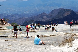 Hierve el Agua - Natural and lower artificial pool