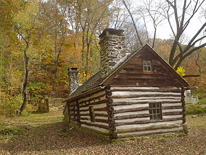 American colonial architecture - Lower Swedish Cabin, Drexel Hill, Upper Darby Township, Pennsylvania built ca. 1640-1650, may be one of the oldest log cabins in the United States.