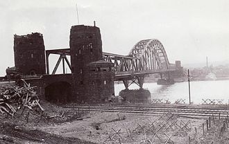 Battle of Remagen - The Ludendorff Bridge at Remagen from the west bank of the Rhine after it was captured by U.S. troops
