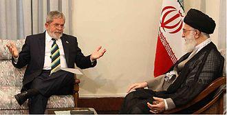 Lulism - Supreme Leader of Iran Ali Khamenei talking with Brazilian President Luiz Inácio Lula da Silva