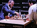 Məmmədyarov (li.) und Kramnik, Kandidatenturnier Berlin 2018, 6. Runde.jpg