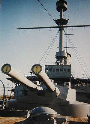 Japanese battleship Mikasa - The new 45-calibre 12-inch guns added during the reconstruction