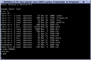MINIX - MINIX 2.0.4 shell interaction