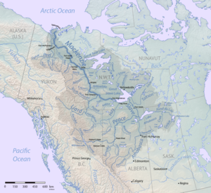 The Finlay River flows into the Peace River, which flows into the Slave River and hence into the Great Slave Lake. The Mackenzie River main stem flows generally northwest from the Great Slave Lake to the Beaufort Sea.