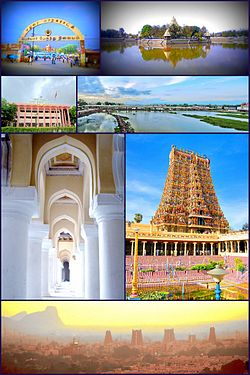 Clockwise frae tap left: Periyar Bus Stand, Teppakulam Mariyamman tank, Vaigai River, Meenakshi Amman Temple, Madurai skyline, Thirumalai Nayakkar Palace an Madurai Corporation biggin
