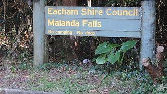 Malanda Falls Swimming Pool - Eacham Shire Council sign, 2016
