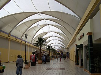 """The Mall at 163rd Street - """"The Dome"""", the mall's interior enclosed by a Teflon canvas that's held by metal arches"""