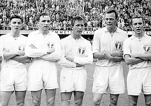 Bengt Lindskog - Malmö FF players in 1955: from left Charles Gustafsson, Henry Thillberg, Nils-Åke Sandell, Bengt Lindskog and Bertil Nilsson.