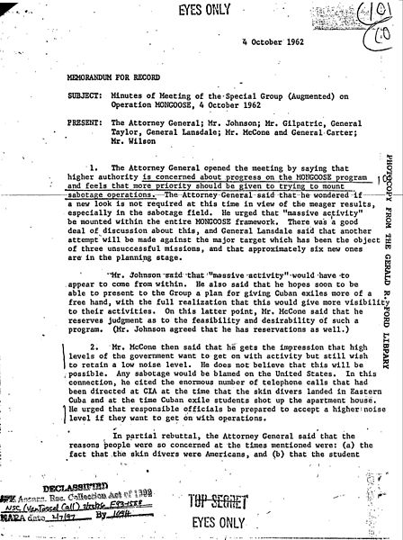 Minutes of Meeting of the Special Group on Operation Mongoose, 4 October 1962, page 1.