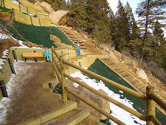 Manitou Incline - The Barr Trail Bailout, two-thirds of the way up the Incline