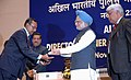 Manmohan Singh gave away the President's Police Medal to Shri P.C. Mukherjee, Assistant Central Intelligence officer, Kolkata for distinguished services on the occasion of Independence day-2008.jpg