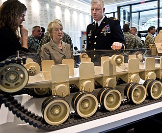 Major General Galen Jackman briefs Senator Patty Murray on the Manned Ground Vehicle program in Washington, D. C. Manned Ground Vehicle briefing in D.C..jpg