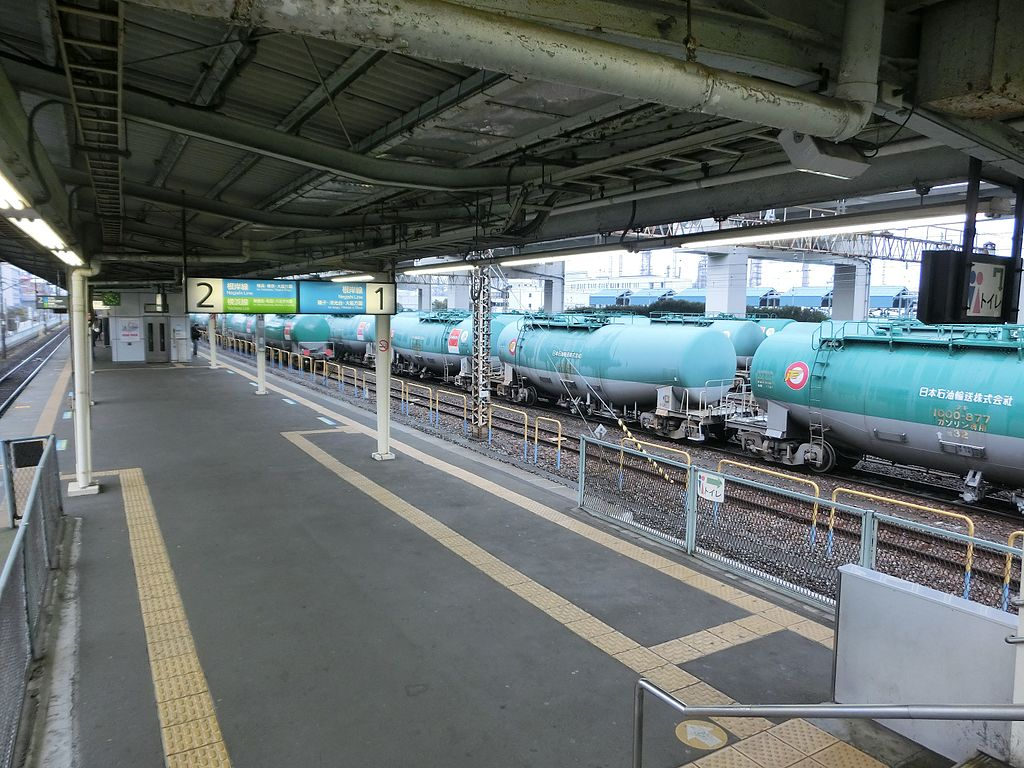 Many tank cars at JR Negishi Station (Kanagawa pref.,Japan)