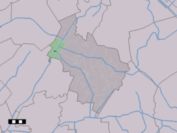 The town centre (dark green) and the statistical district (light green) of Hoogersmilde in the municipality of Midden-Drenthe.