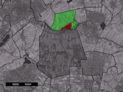The village (red) and the statistical district (light green) of Koudekerk aan den Rijn in the former municipality of Rijnwoude.