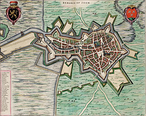 Siege of Bergen-op-Zoom (1622) - Image: Map of Bergen op Zoom (Blaeu)