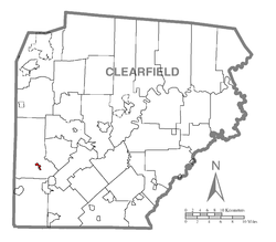 Location of Mahaffey in Clearfield County