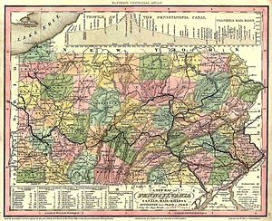 Lackawanna County, Pennsylvania - A map of Pennsylvania counties in 1836. At the time, Lackawanna County was still part of Luzerne County.