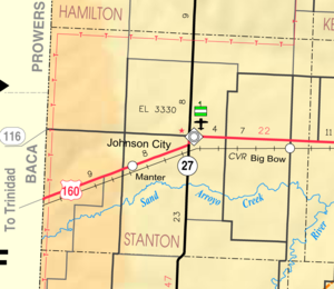 Stanton County, Kansas - Image: Map of Stanton Co, Ks, USA