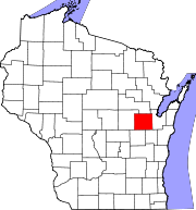 Map of Wisconsin highlighting Outagamie County.svg