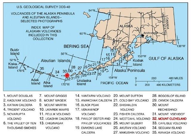 Map of alaska volcanoes cleveland