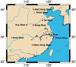 Map sacred mountains of china