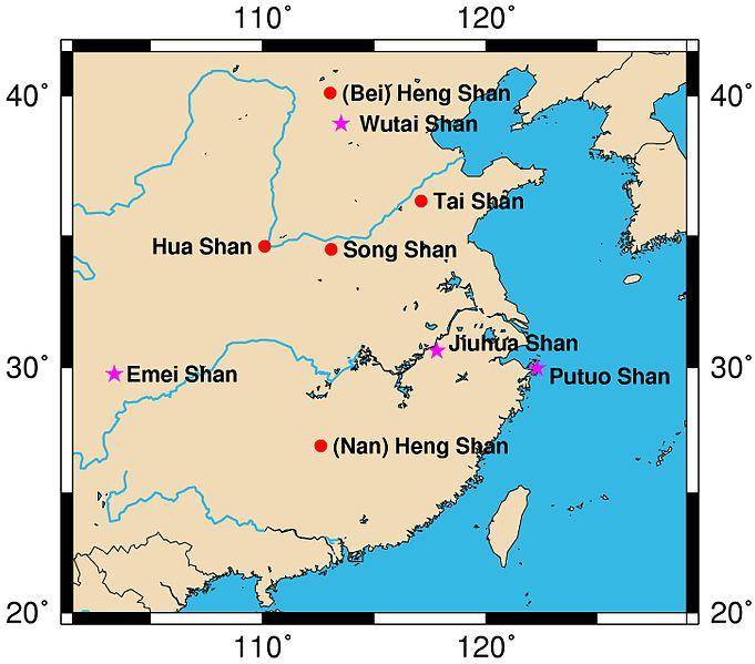 Map Sacred Mountains of China