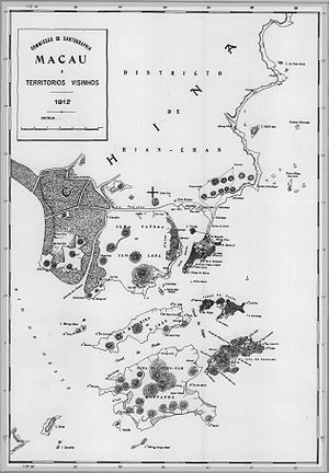 Wanzai, Small Hengqin and Great Hengqin islands - Image: Mapa Macau 1912