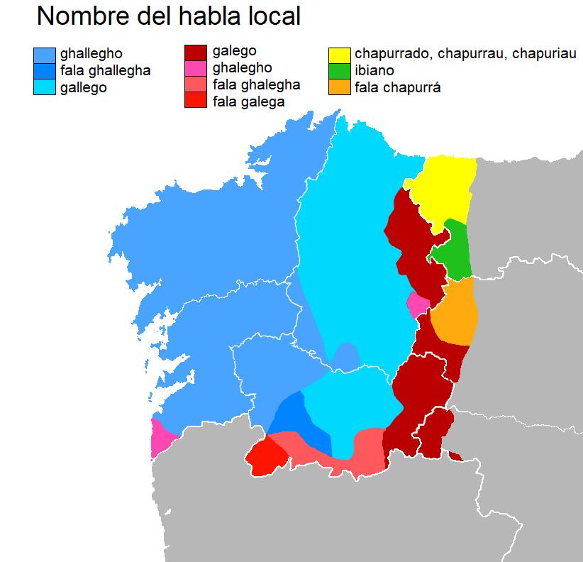 Mapa coa denominación da lingua local no dominio lingüístico galego