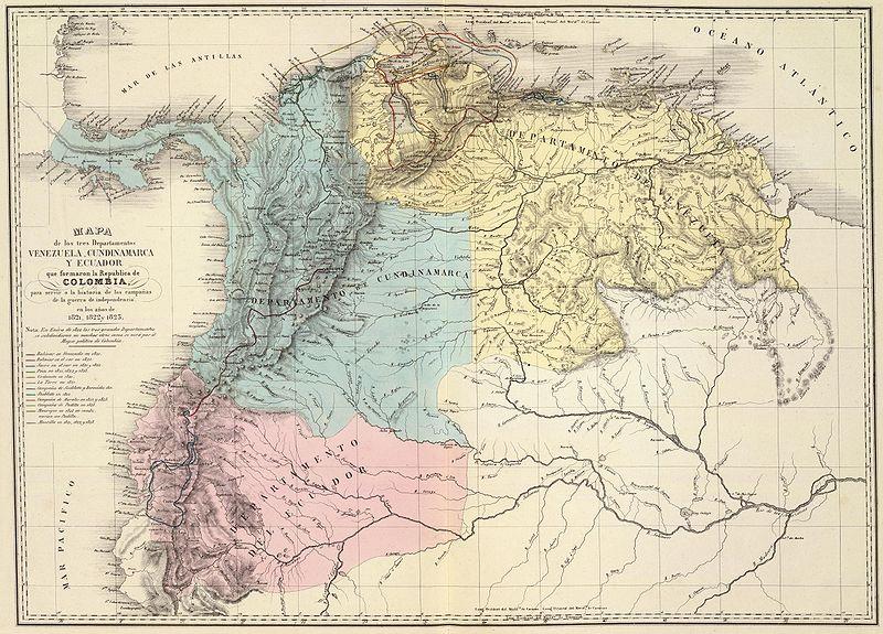 Mapa de Venezuela, N. Granada y Quito, 1821.jpg