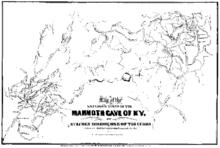 Mappa di Mammoth Cave del 1842, disegnata da Stephen Bishop: stranamente, nonostante fosse uno schiavo, la mappa ottenne il plauso di tutti