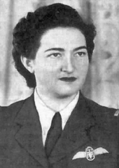 Black and white photo of Margot Duhalde with her insignia of the Air Force