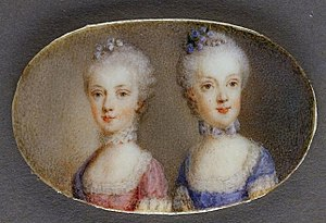 Marie Antoinette - Archduchesses Maria Antonia in a pink dress and Maria Carolina in blue (watercolor on ivory by Antonio Pencini, 1764)
