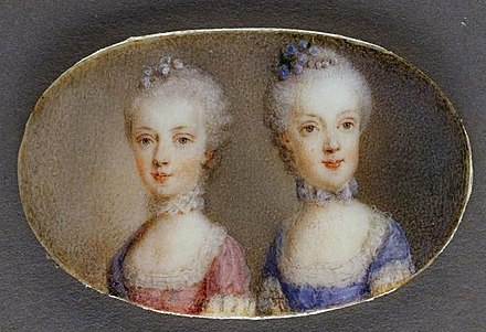 Archduchesses Maria Antonia in a pink dress and Maria Carolina in blue (watercolor on ivory by Antonio Pencini, 1764) Maria Carolina and Maria Antonia of Austria.jpg
