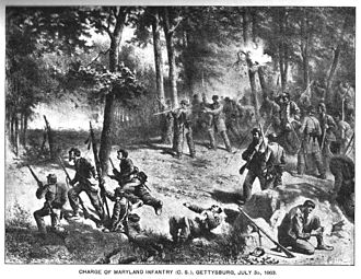 """Maryland Line (CSA) - Charge of the 2nd Maryland Volunteer Infantry Regiment into the """"slaughterpen"""" at Culp's Hill, Battle of Gettysburg, July 3rd 1863. So severe were the casualties among the Marylanders that Brigadier General George H. Steuart is said to have broken down and wept, wringing his hands and crying """"my poor boys""""."""