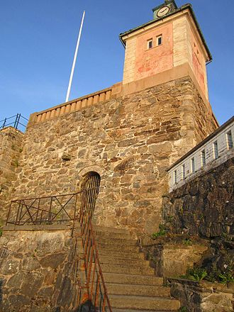 History of the Jews in Sweden - The door at the top of the stairs at Fort Fredriksborg in Marstrand, leads in to where Sweden's first synagogue was established.