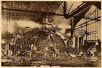 François Bourdon - The Creusot steam hammer of 1877, a huge hammer with a design evolved from Bourdon's original