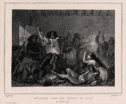 Massacre of Jacobin prisoners in Lyon in 1795 Massacre dans les prisons de Lyon 24 avril 1795.png