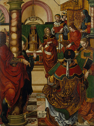 Doctor of Law - Jesus amongst the Doctors of the Law, Master of Sigena, active at the Monastery of Santa María de Sigena, 1515–1519 (current location: Museu Nacional d'Art de Catalunya)