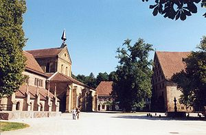 Education in Germany - The Evangelical Seminaries of Maulbronn and Blaubeuren (picture showing church and courtyard) form a combined Gymnasium and boarding school
